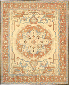 "8'1""x10' Traditional Serapi Orange Wool Hand-Knotted Rug - Direct Rug Import 