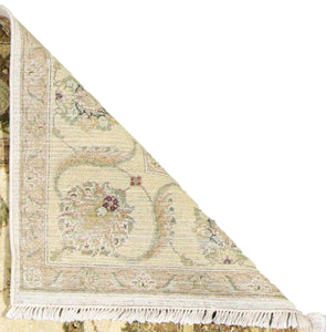 "8'2""x9'9"" Traditional Ivory Wool Hand-Knotted Rug"