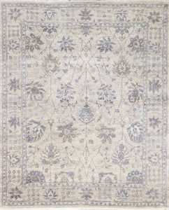 "5'8""x7'8"" Contemporary Tibetan Cream Wool & Silk Hand-Knotted Rug"