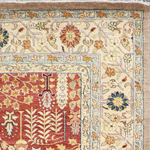 "6'1""x9'5"" Traditional Rust Herati Wool Hand-Knotted Rug - Direct Rug Import 