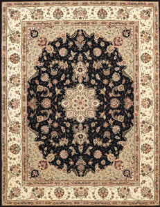 "7'x9'1"" Traditional Tabriz Wool & Silk Hand-Tufted Rug"