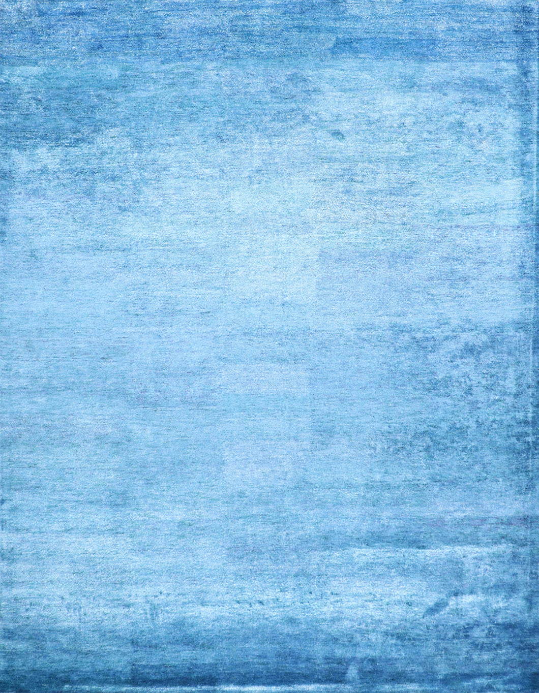 "9'x11'10"" Contemporary Solid Blue Bamboo Silk Hand-Tufted Rug"