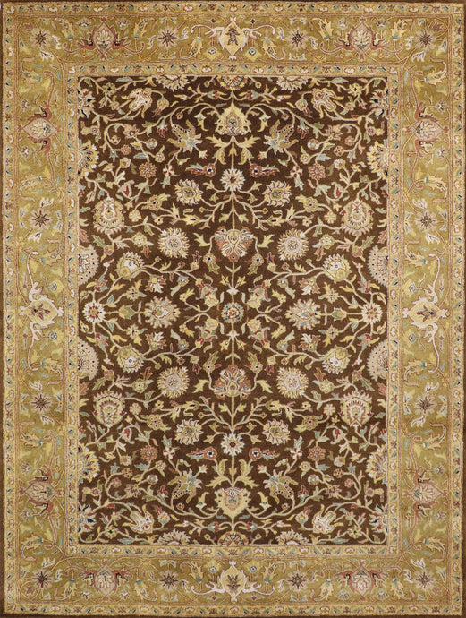 "8'6""x11'5"" Traditional Brown Wool Hand-Tufted Rug"
