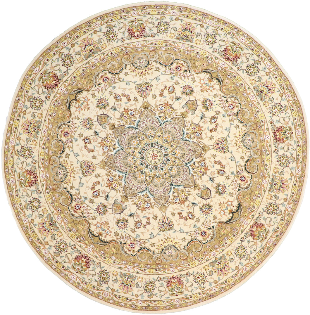 8'x8' Traditional Round Wool & Silk Hand-Tufted Rug