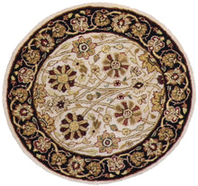 "Load image into Gallery viewer, 2'10""x2'10"" Decorative Ivory Round Wool Rug"