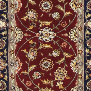 "2'7""x8'1"" Decorative Burgundy Wool & Silk Hand-Tufted Rug"
