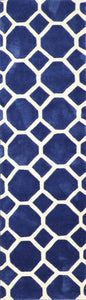 "2'3""x8' Contemporary Blue Wool Hand-Tufted Rug"