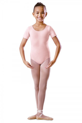 BU201C Pink Round Neck Short Sleeve Leotard