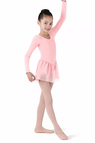 CL5309 Long Sleeve Girls Leotard With Chiffon Skirt (Petal)