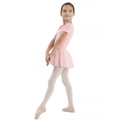 CL5342 Bloch Short Sleeved Girls Leotard with Chiffon Skirt (Tiffany)