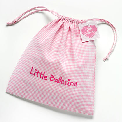 Little Ballerina Pink Gingham Shoe Bag LB1