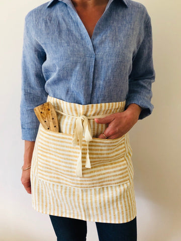 Apron 100% linen- yellow & white striped