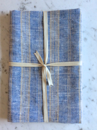 Linen Bath Sheet | Blue & Natural Striped