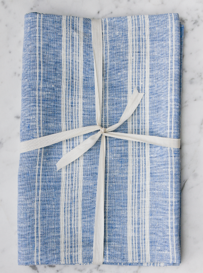 Linen Bath Sheet | Blue & White Striped