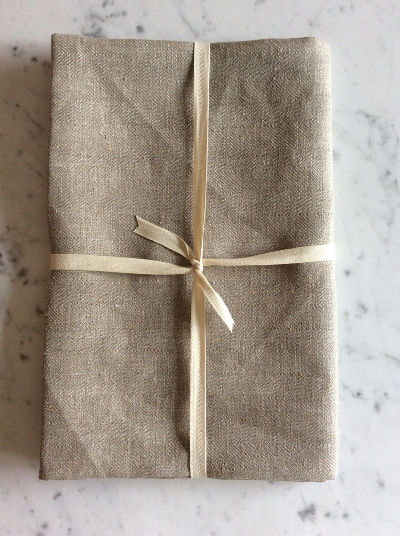 Linen Bath Sheet | Natural Herringbone
