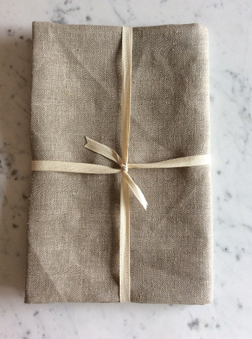 Natural Herringbone Weave linen| Bath Sheet SKU213