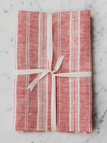 Red & White Striped | Bath Sheet