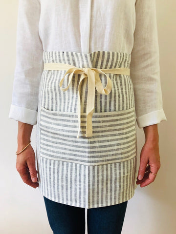 Apron 100% linen - grey & white striped