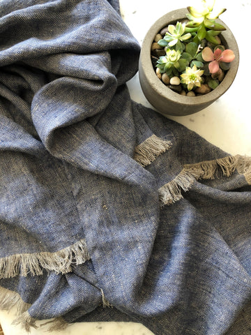 Natural & indigo Herringbone Weave | Linen Throw