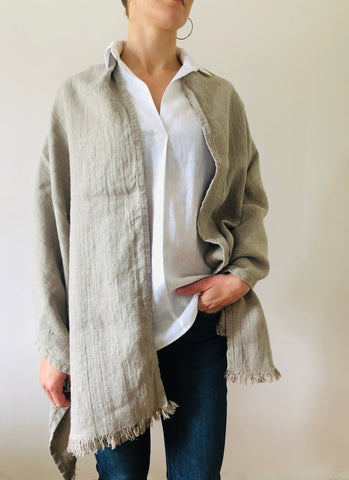 Linen Wrap scarf - natural herringbone