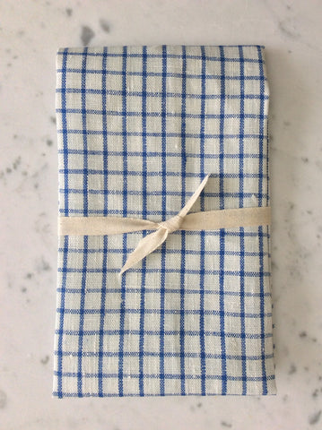 gingham blue & white | linen Tea/Hand Towel