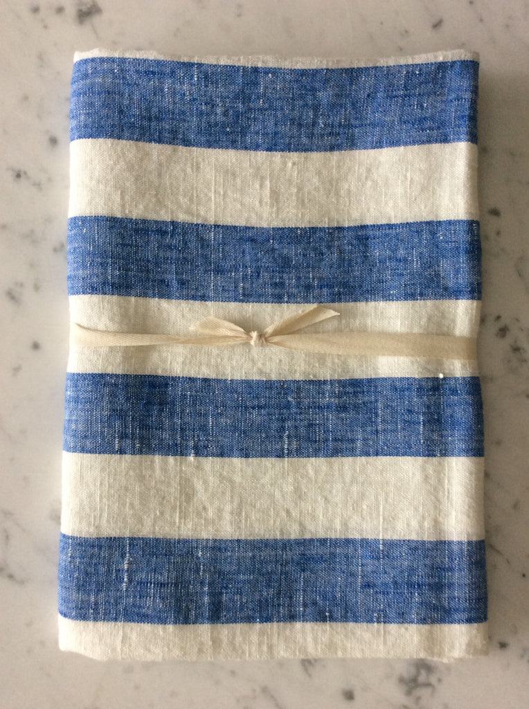 Blue/white striped, stonewashed | Bath Sheet SKU217