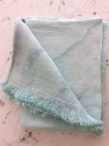 Hand painted linen throw