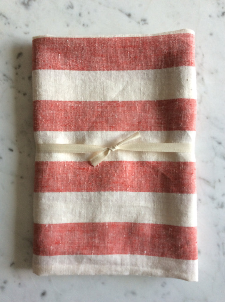 Red/off white striped, stonewashed | Bath Sheet SKU220