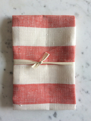 Red/white striped | linen Tea/Hand Towel
