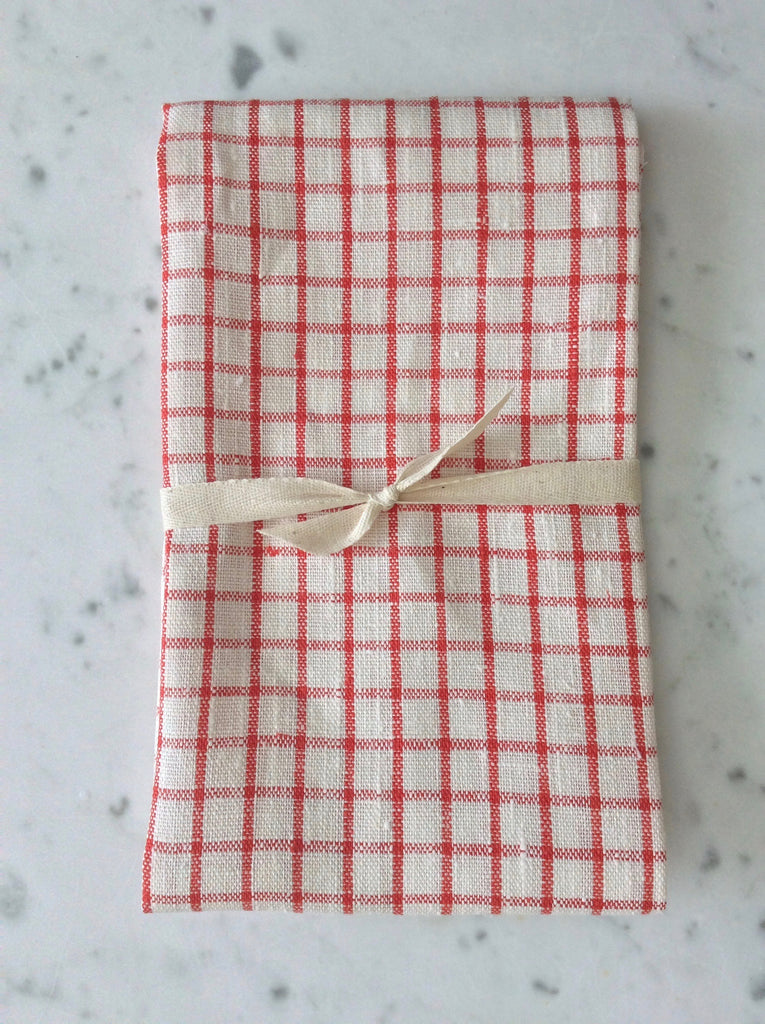 gingham red & white | linen Tea/Hand Towel