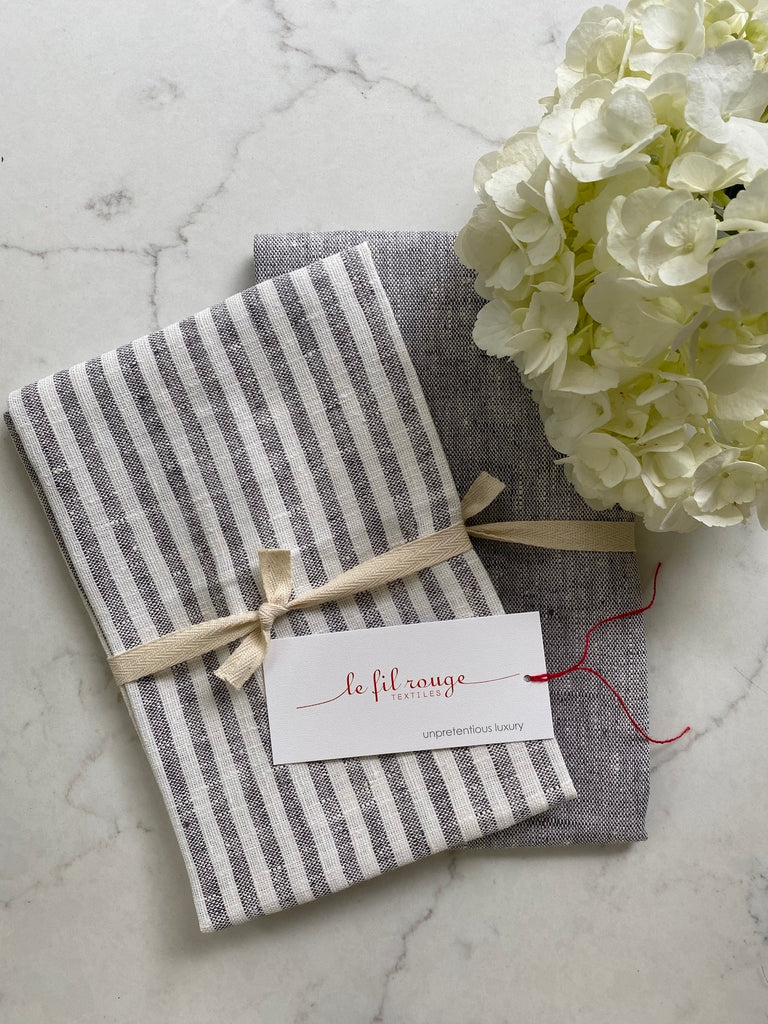 grey & white thin striped | linen Tea/Hand Towel