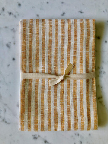 yellow & white thin striped | Linen Tea/Hand Towel