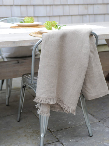 Natural Herringbone Weave | Linen Throw