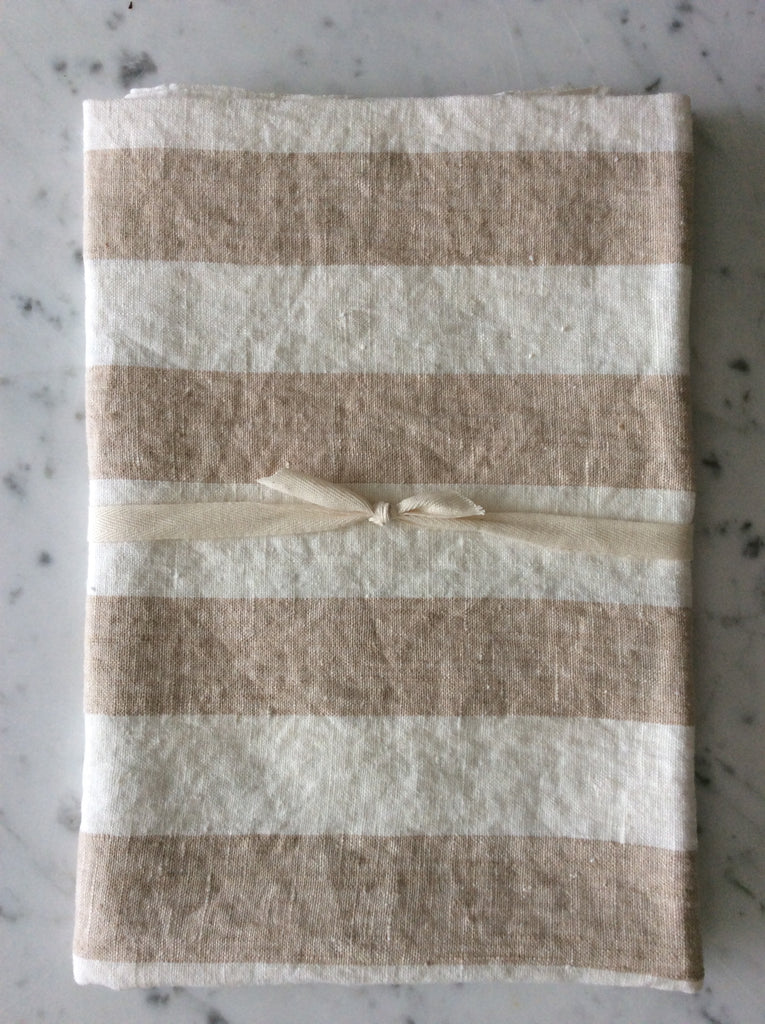 Beige/white striped, stone washed | bath sheet  SKU218