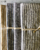 grey & white thin striped linen | Bath Sheet SKU 223