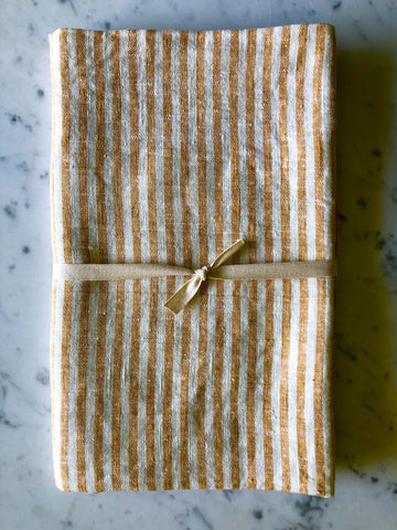 Yellow & white thin striped linen| Bath Sheet SKU 221
