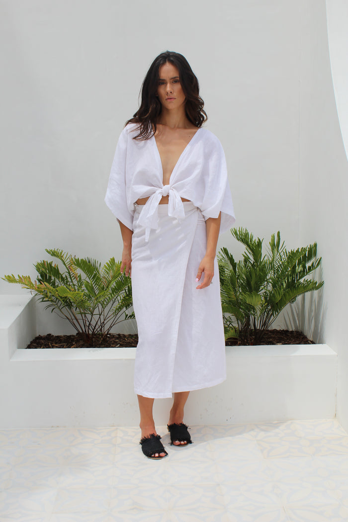 Havana Linen White Wrap Skirt