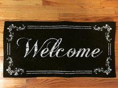 """Welcome"" / ""F**k Off""  2-Sided Door Mat by MOOD MATS"