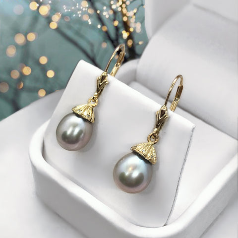 Pearl Dangle Grey 14K Yellow Gold Lab Diamond Earrings