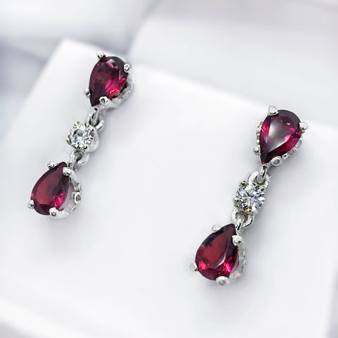 Garnet Fillagree Post Earrings with CZs