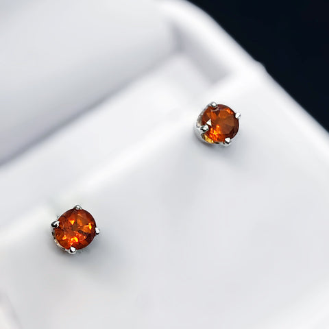 Fancy Orange Citrine Sterling Silver Stud Earrings