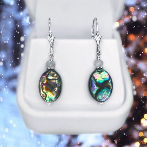 Abalone Shell, Moonstone and Sterling Silver Dangle Earrings