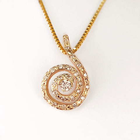 14k Yellow Gold and Laboratory Grown Diamond Swirl Drop Pendant