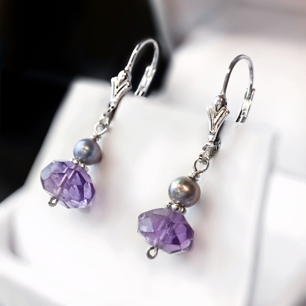 Amethyst, Grey/Purple Freshwater Pearl and Sterling Silver Dangle Earrings