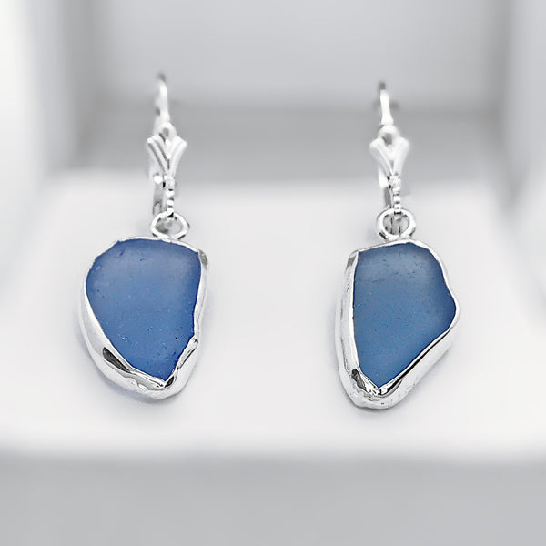 Beach Glass Cornflower Blue Sterling Silver Dangle Earrings