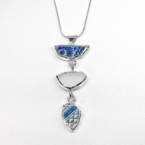 Beach Glass Pottery Asian Blue & White Pattern Necklace