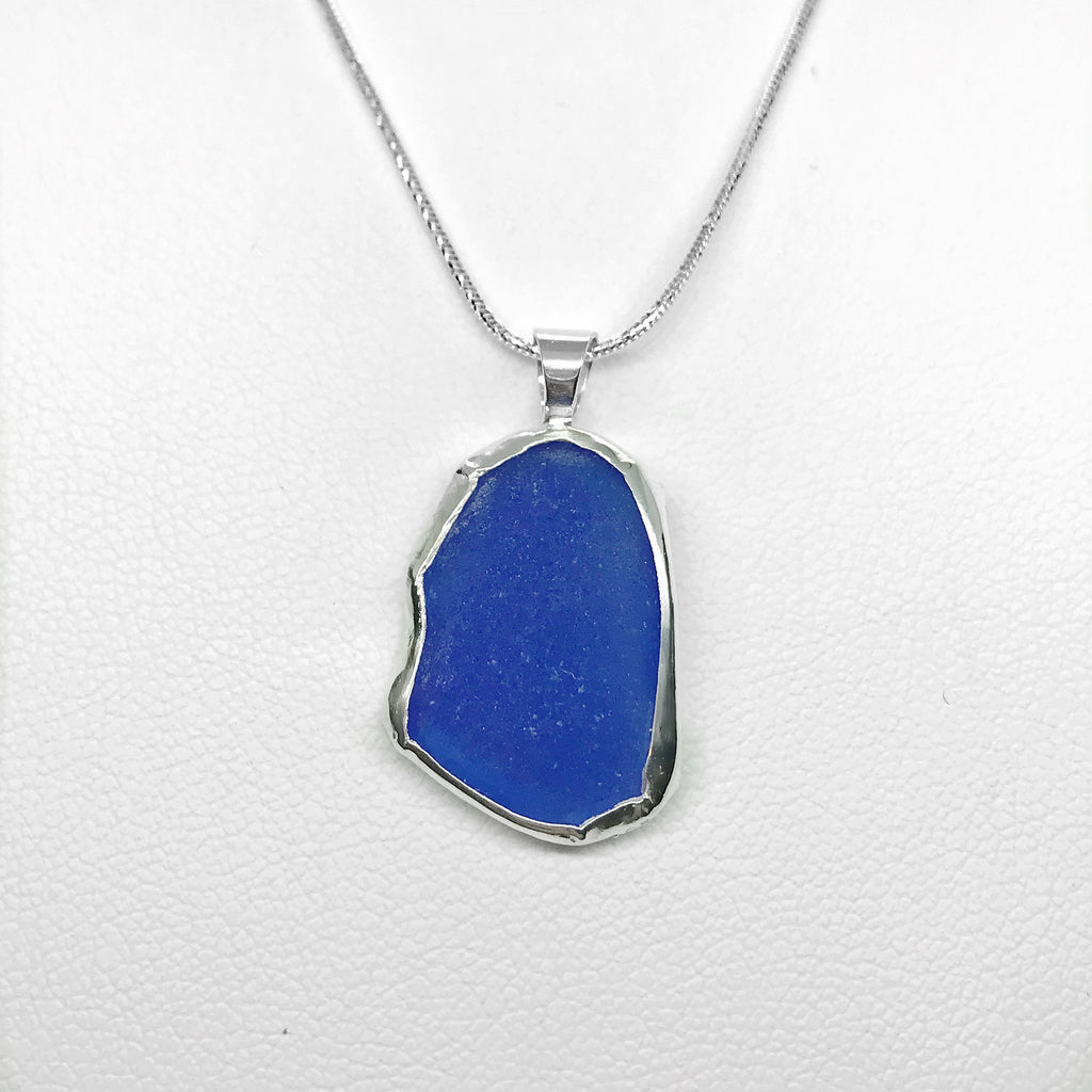 Beach Glass Cobalt Blue Sterling Silver Necklace