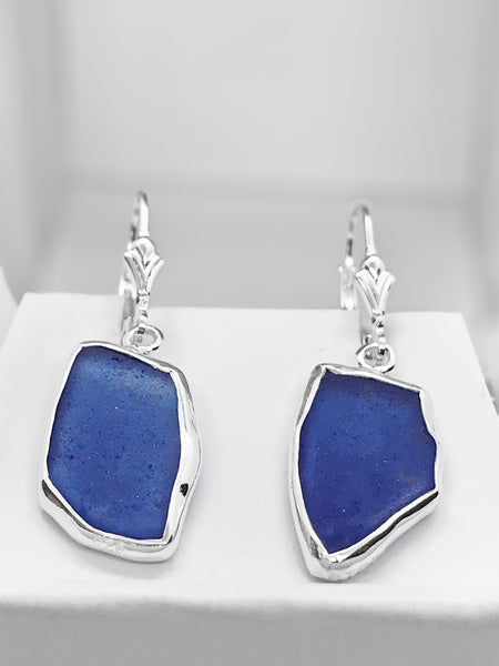Beach Glass Dark Blue Cobalt Sterling Silver Dangle Earrings