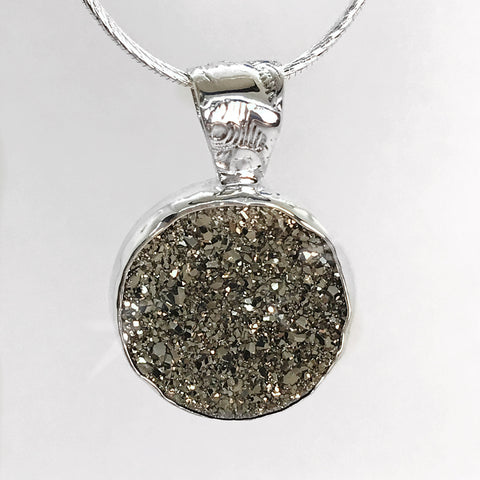 Druzy Steel Gray Sterling Silver Necklace