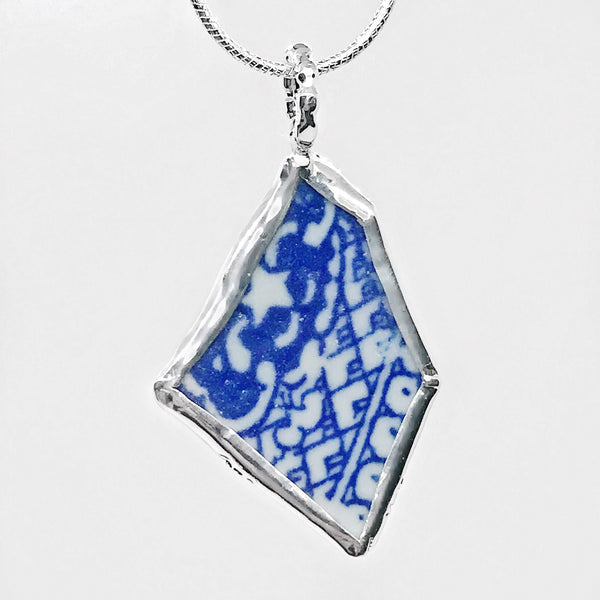 Beach Glass Pottery Asian Blue & White Pattern Sterling Silver Necklace